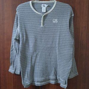 CK Jeans striped lightweight knit henley size XL